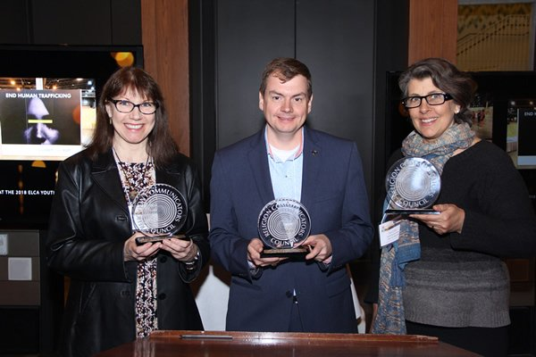 Three of the 2019 DeRose-Hinkhouse Award Best of Class winners (L to R): Heidi Parsons and C. Aaron Kreader, Brilliant Star / Bahá'í National Center, and Rae Grant, Response magazine, United Methodist Women. Photo by Julie Brinker