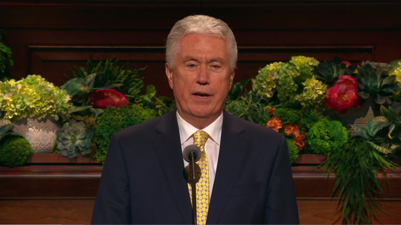 Elder Dieter Uchtdorf addresses the Church of Jesus Christ of Latter-day Saints at its General Conference, April 6, 2019. YouTube screen shot.
