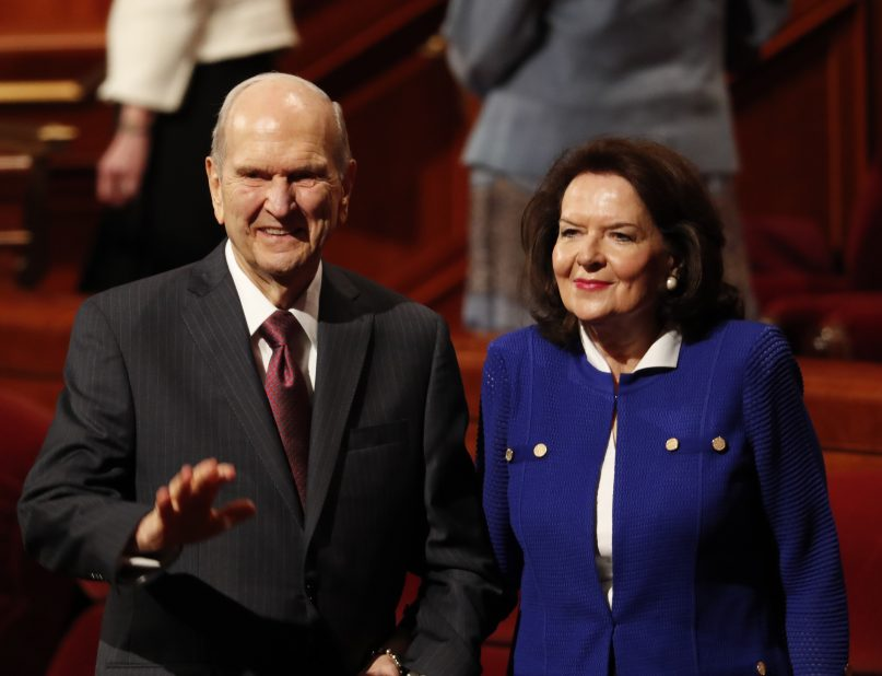 Russell M. Nelson, president of the Church of Jesus Christ of Latter-day Saints, with his wife Wendy at the church's 189th General Conference, April 6, 2019, Salt Lake City. ©2019 Intellectual Reserve Inc.