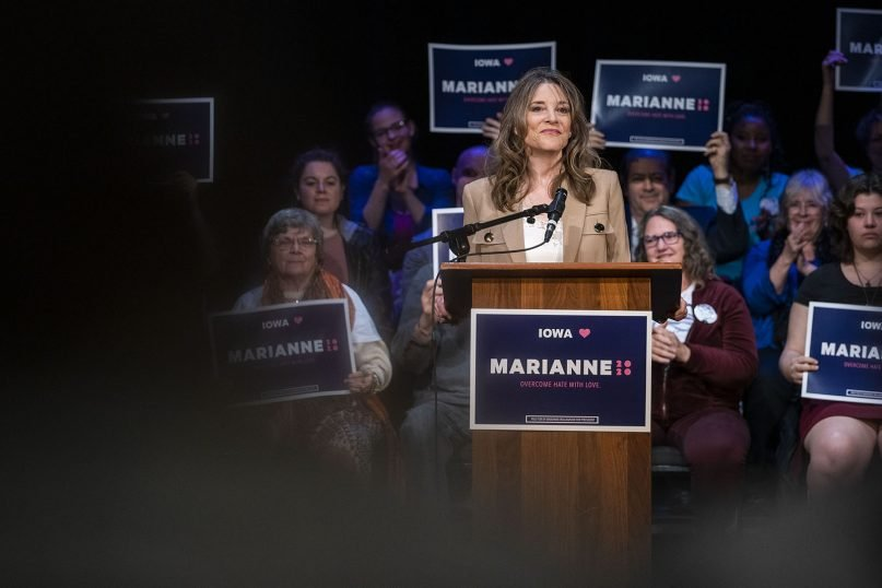 Marianne Williamson campaigns for president at the Sondheim Center in Fairfield, Iowa, on Wednesday, April 10, 2019. Fairfield is home to Maharishi University of Management, a school founded by Maharishi Mahesh Yogi that attracts students for its