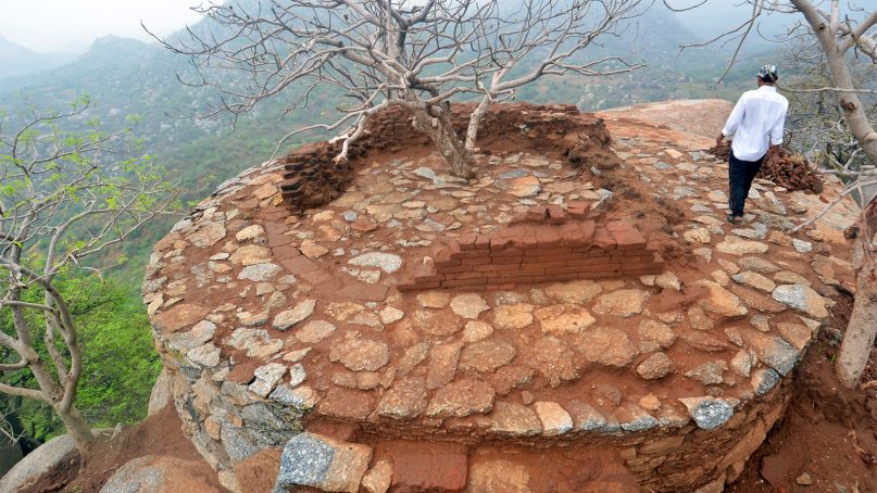 A Buddhist stupa atop Dhagolia hill in Gujarat's Taranga range was excavated in May 2018 by the Archaeological Survey of India. Photo by ASI