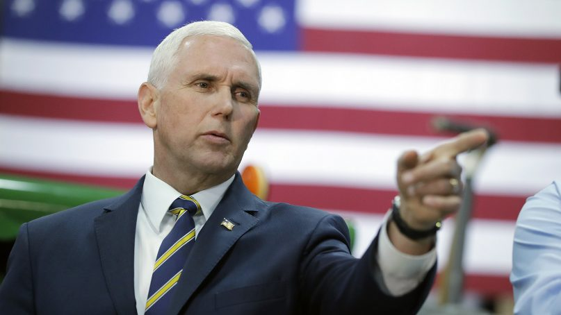 Vice President Mike Pence speaks during a visit to Lamb Farms Inc. on April 4, 2019, in Lebanon, Ind. (AP Photo/Darron Cummings)