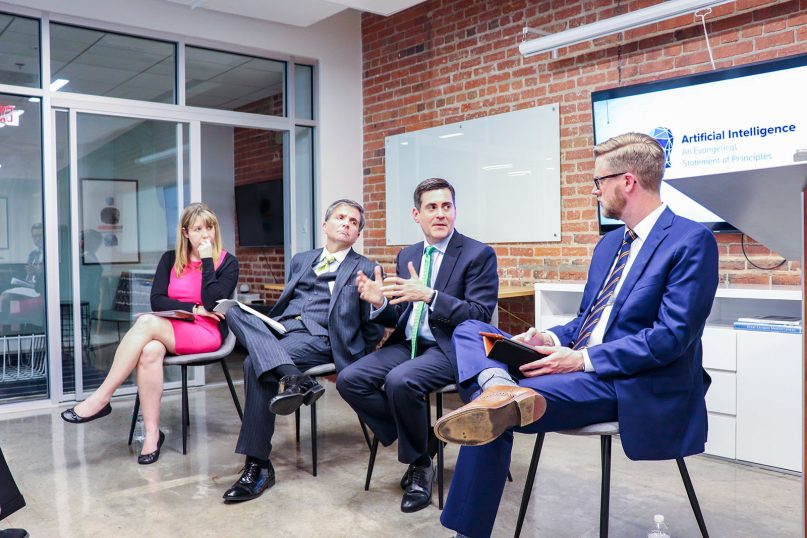 Russell Moore, third from left, president of the Southern Baptist Convention's Ethics and Religious Liberty Commission, joins a panel discussion in Washington, D.C., as his agency releases a statement on artificial intelligence on April 11, 2019. Other panelists, left to right, are national security expert Megan Riess, Institute on Religion and Democracy President Mark Tooley and ERLC Creative Director Jason Thacker. RNS photo by Adelle M. Banks