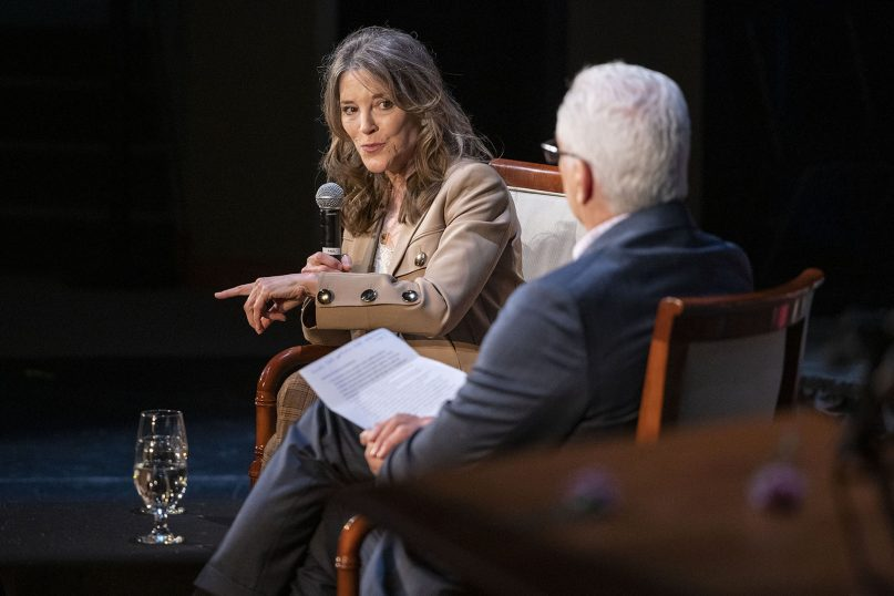 Marianne Williamson answers questions from Fairfield, Iowa, Mayor Ed Malloy at the Sondheim Center in Fairfield on Wednesday, April 10, 2019.  RNS photo by KC McGinnis