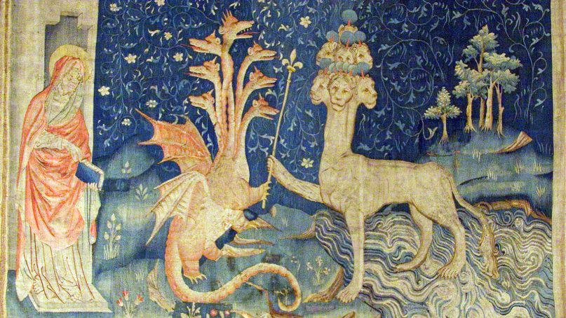 The Tapestry of the Apocalypse, in Angers, France, includes a detail that shows John, from left, the Dragon and the Beast of the Sea from the Book of Revelation. Image courtesy of Creative Commons