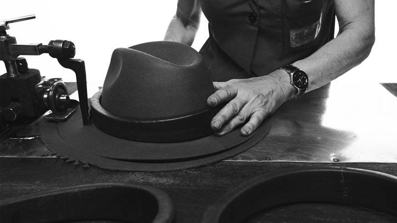 The wing trimming process for new Borsalino hats in Alessandria, Italy. Photo courtesy of Borsalino