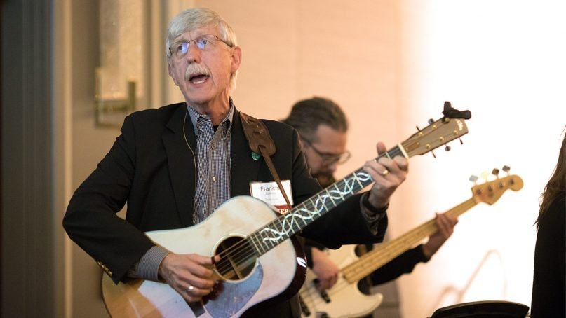 Francis Collins performs with the band during the first day of the BioLogos conference on March 27, 2019, in Washington. Photo by Clay Blackmore