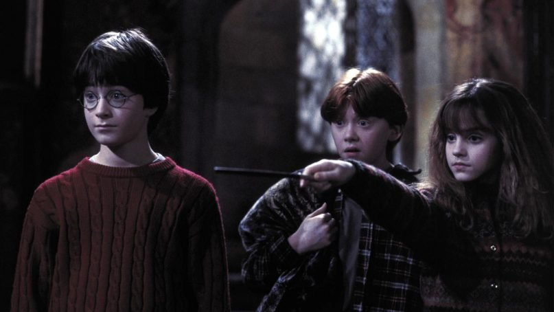 Characters Harry, left, Ron and Hermione in a scene from the