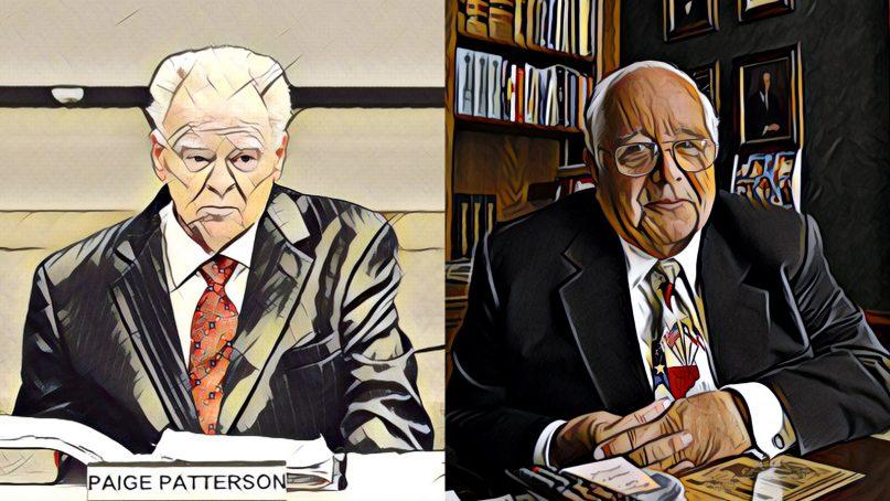 Paige Patterson, left, and Paul Pressler. (Adam Covington/SWBTS; AP Photo/Michael Stravato; RNS illustration by Kit Doyle)