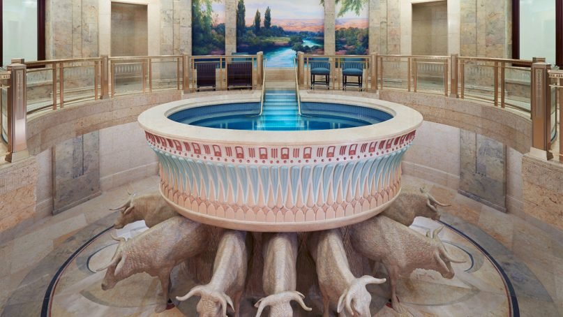 The baptistry of the LDS temple in Phoenix, Ariz. Photo ©2017 Intellectual Reserve, Inc.