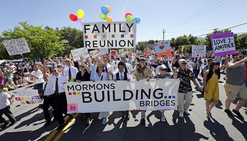 Members of the Mormons Building Bridges march during the Utah Gay Pride Parade in Salt Lake City on June 2, 2013. (AP Photo/Rick Bowmer, File)