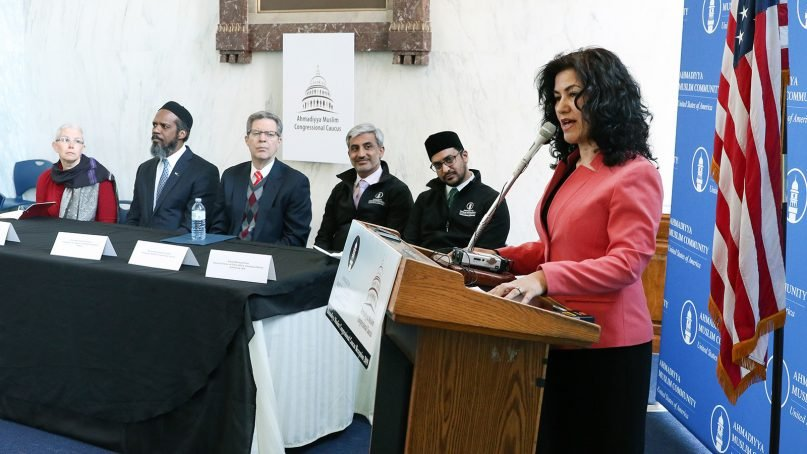 Rushan Abbas, founder of the Campaign for Uighurs, speaks at the Ahmadiyya Muslim Caucus' reception at Rayburn House Office Building in Washington, D.C., on April 1, 2019. Other speakers included, from left: Sophie Richardson, of Human Rights Watch; Imam Azhar Haneef, of the Ahmadiyya Muslim Community; Sam Brownback, ambassador-at-large for international religious freedom; Muhammad Chaudhry, of the Ahmadiyya Muslim Caucus; and Amjad Khan, of the Ahmadiyya Muslim Community. Photo courtesy of Ahmadiyya Muslim Community