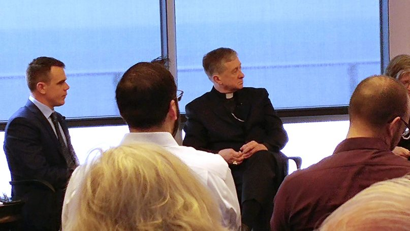 Cardinal Blase Cupich, cetner, discusses the future of the Catholic Church in America at Loyola University of Chicago on April 4, 2019. RNS photo by Mark Silk