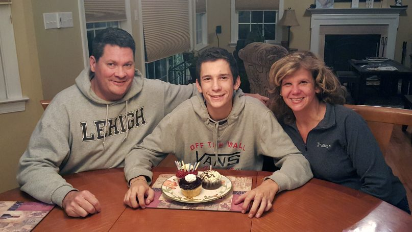 Andy and Tina Plank with their son Sam on his 18th birthday. Photo courtesy of Plank family