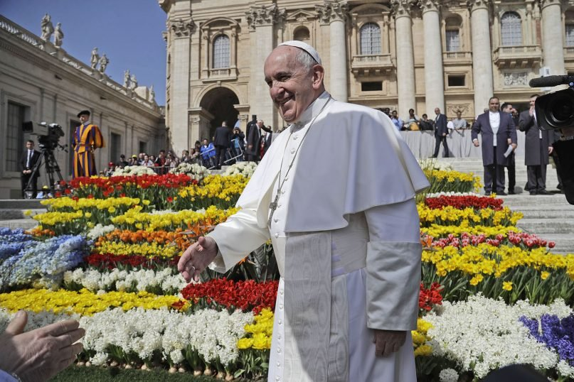 Pope Francis arrives for his weekly general audience in St. Peter's Square at the Vatican, Wednesday, April 24, 2019. (AP Photo/Gregorio Borgia)