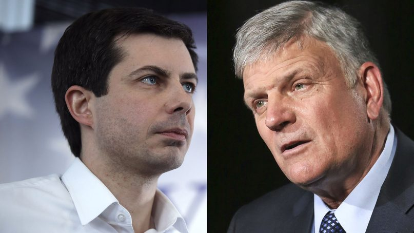 LEFT: Sound Bend, Indiana Mayor Pete Buttigieg speaks in Raymond, N.H., Saturday, Feb. 16, 2019. RIGHT: Rev. Franklin Graham speaks during an interview about his latest book in New York on May 1, 2018. (AP Photos/Charles Krupa, Bebeto Matthews/File)