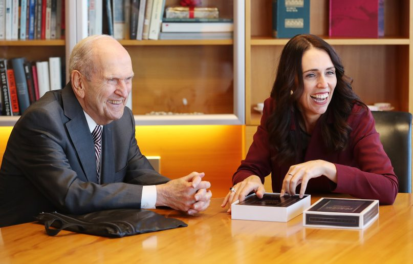 President Russell M. Nelson of The Church of Jesus Christ of Latter-day Saints gives a Book of Mormon to New Zealand Prime Minister Jacinda Ardern in Wellington, New Zealand on Monday, May 20, 2019. Photo courtesy of the Newsroom of the Church of Jesus Christ of Latter-day Saints.