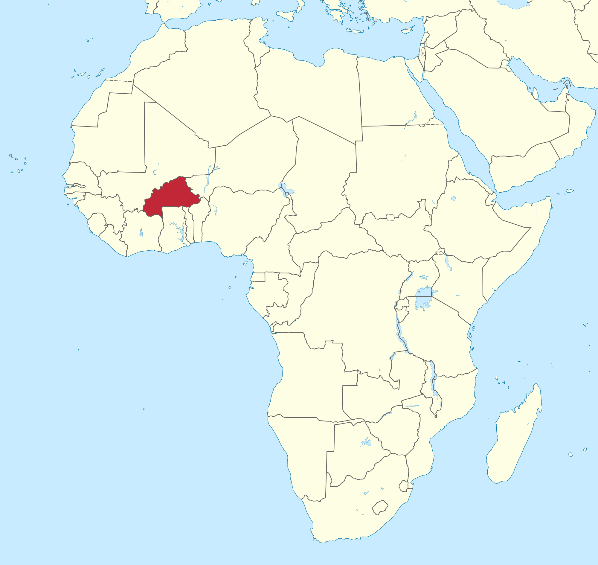 PRINT Burkina Faso, red, located in western Africa. Map courtesy