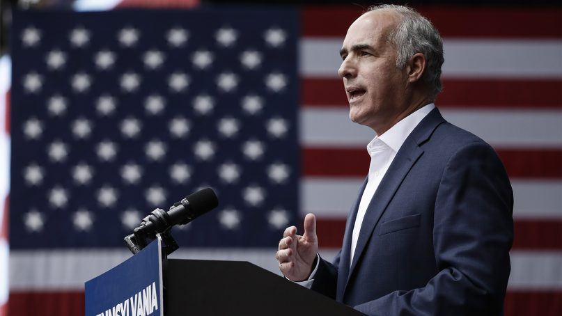 Sen. Bob Casey, D-Pa., speaks at a campaign rally for Pennsylvania candidates in Philadelphia on Sept. 21, 2018. (AP Photo/Matt Rourke)