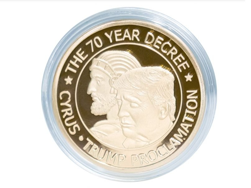 A gold coin featuring King Cyrus and President Trump being sold on the Jim Bakker Show. Video screenshot