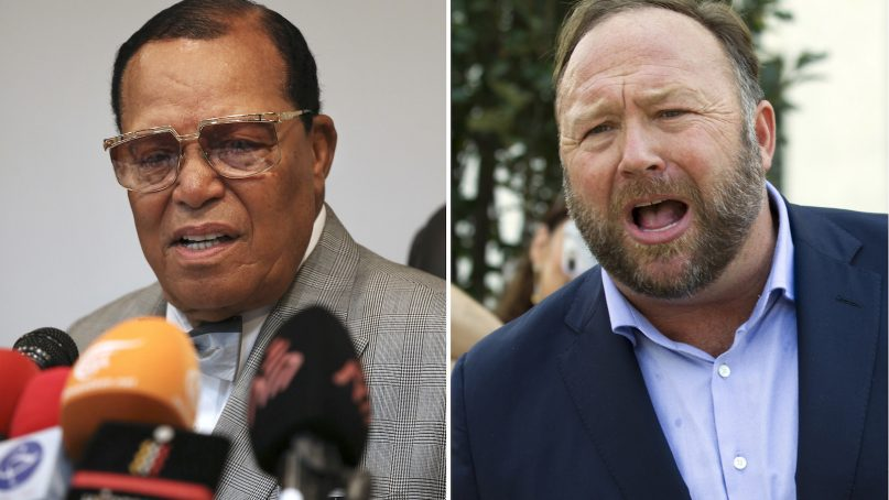 This combination of file photos shows minister Louis Farrakhan, the leader of the Nation of Islam, in Tehran, Iran, on Nov. 8, 2018, left, and conspiracy theorist Alex Jones in Washington on Sept. 5, 2018, right. Facebook has banned Farrakhan, Jones and others from its platform and from Instagram, saying they violated its ban against hate and violence. The company said Thursday it has also banned extreme right-wing figures Paul Nehlen, Milo Yiannopoulos, Paul Joseph Watson, Laura Loomer and the conservative conspiracy site Infowars. Jones was already banned from Facebook but not from Instagram. (AP Photo)