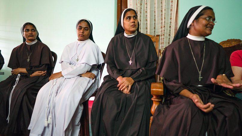 Sisters Nina Rose, from left, Ancitta Urumbil, Alphy Pallasseril and Anupama Kelamangalathuveliyil at the St. Francis Mission Home in Kuravilangad, Kerala, India, on March 8, 2019. Photo by Richard Tamayo