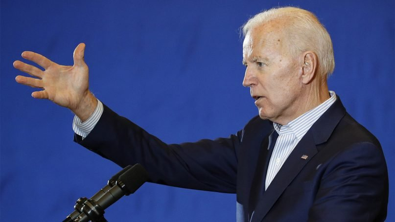 Former Vice President and Democratic presidential candidate Joe Biden speaks at a rally with members of a painters and construction union on May 7, 2019, in Henderson, Nev. (AP Photo/John Locher)