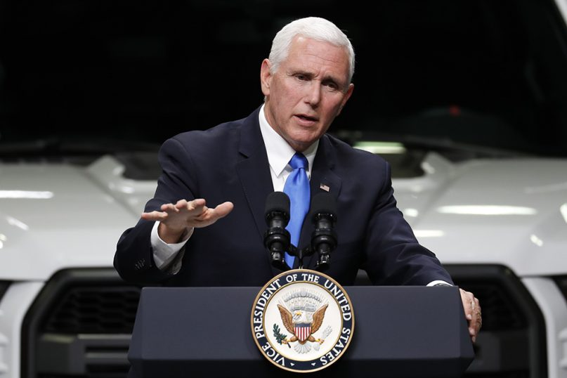 Vice President Mike Pence speaks at an auto industry discussion in Taylor, Mich., on April 24, 2019. (AP Photo/Paul Sancya)