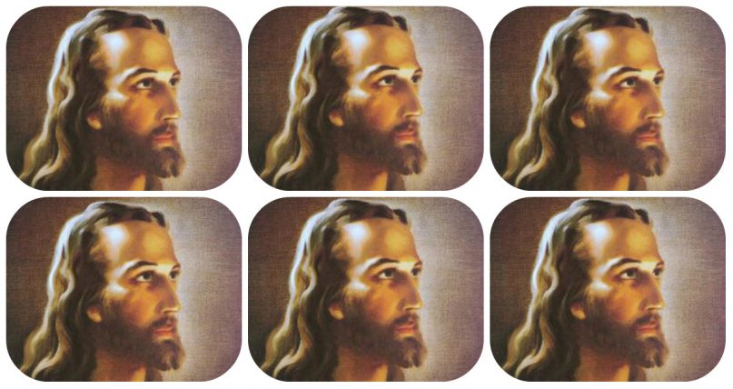 Warner Sallman painted Jesus in oil after people raved about his black and white sketch. It has been reproduced millions of times. Image by Warner Sallman/collage by The Conversation