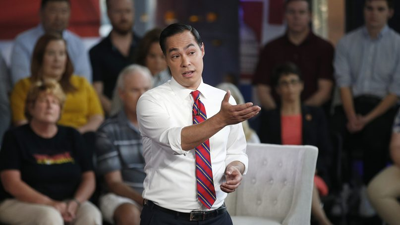 Democratic presidential candidate Julian Castro speaks during a Fox News Channel town hall event on June 13, 2019, in Tempe, Ariz. (AP Photo/Ross D. Franklin)