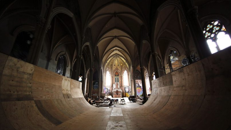 A halfpipe occupies the nave of the former St. Liborius Catholic Church in Old North St. Louis. The church has been converted into SK8 Liborious in recent years. RNS photo by Bill Motchan