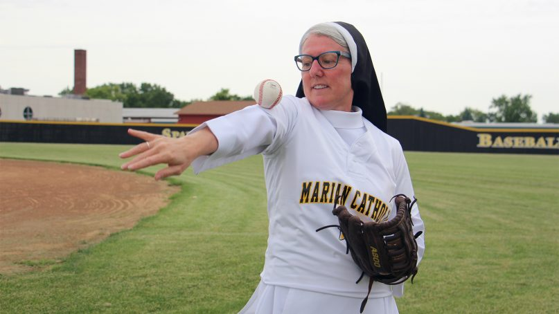 Sister Mary Jo Sobieck shows off her baseball skills at Marian Catholic High School in Chicago Heights, Illinois, on June 21, 2019, where she teaches theology. Sobieck is nominated for an ESPY for