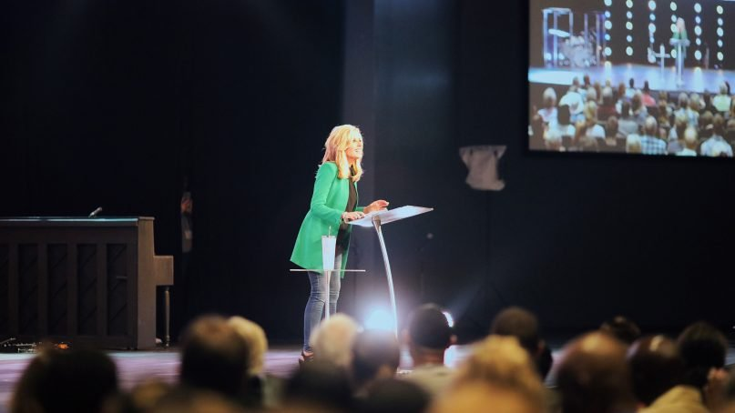Beth Moore speaks at Transformation Church, a nondenominational multiethnic evangelical megachurch near Charlotte, N.C., on Sunday, June 2, 2019. Photo courtesy of Transformation Church