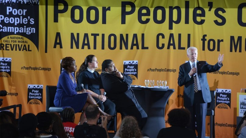 Presidential candidate Joe Biden, right, addresses a Poor People's Campaign meeting at Trinity Washington University in Washington, D.C., on June 17, 2019. RNS photo by Jack Jenkins