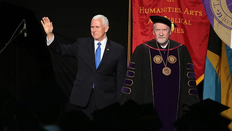 Vice President Mike Pence, left, at the 2019 Taylor University commencement at the invitation of President Lowell Haines, right. Photo courtesy of Taylor University