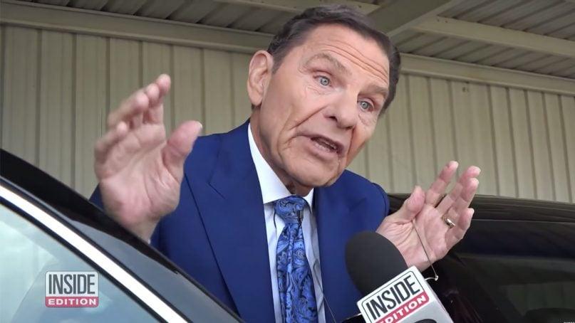 Televangelist Kenneth Copeland speaks with Inside Edition reporter Lisa Guerrero. Video screenshot via Inside Edition