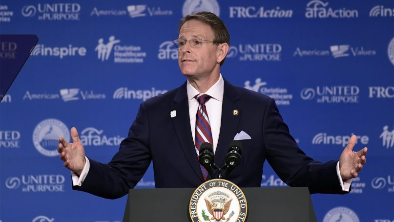Family Research Council President Tony Perkins speaks at the 2018 Values Voter Summit in Washington on Sept. 22, 2018. (AP Photo/Susan Walsh)