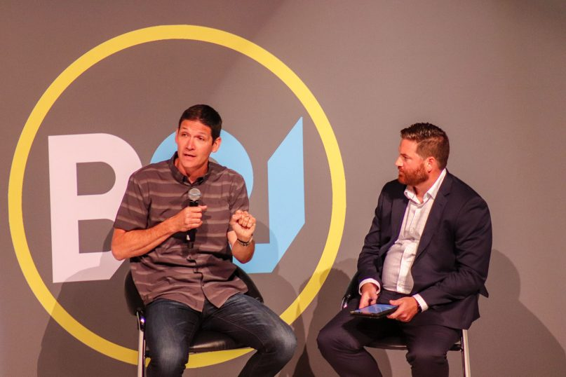 Matt Chandler, left, answers questions posed by Nate Akin during the Baptist 21 luncheon held during a break in the annual meeting of the Southern Baptist Convention in Birmingham, Ala., on June 11, 2019.  RNS photo by Adelle M. Banks
