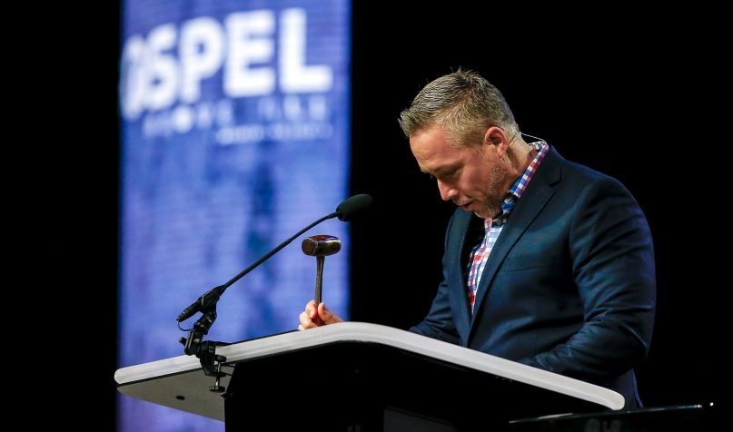 Southern Baptist Convention President J.D. Greear brings the annual meeting of the Southern Baptist Convention to order using the 1872 Broadus gavel, named for John A. Broadus, a slaveholder, at the Birmingham-Jefferson Convention Complex in Birmingham, Alabama, on June 11, 2019. RNS Photo by Butch Dill