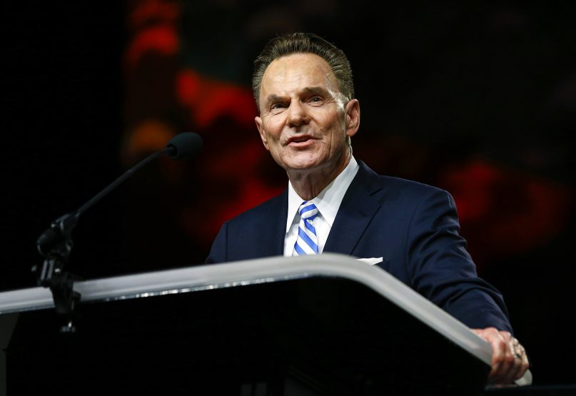 Southern Baptist Convention President of the Executive Committee Ronnie Floyd speaks during the annual meeting of the Southern Baptist Convention at the BJCC in Birmingham, Alabama, on June 11, 2019.  RNS Photo by Butch Dill