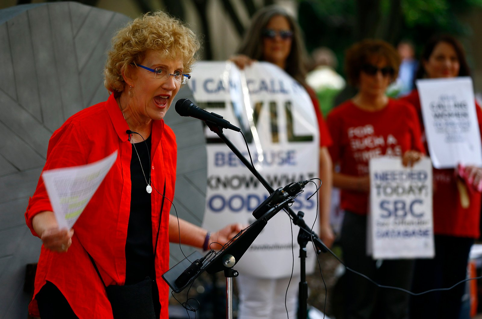 Christa Brown talks about her abuse at a rally outside the annual meeting of the Southern Baptist Convention at the Birmingham-Jefferson Convention Complex on June 11, 2019, in Birmingham, Ala. RNS photo by Butch Dill