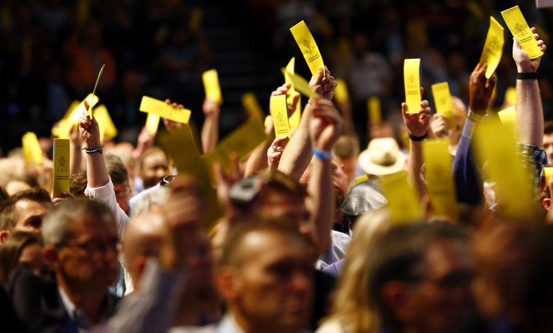 Messengers vote on motions during the annual meeting of the Southern Baptist Convention at the Birmingham-Jefferson Convention Complex on  June 11, 2019, in Birmingham, Alabama.  RNS photo by Butch Dill