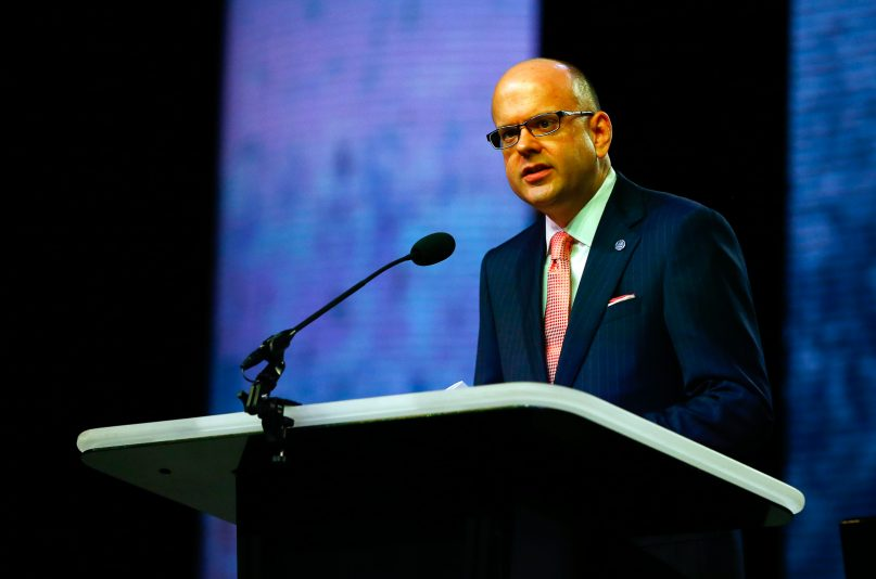 Adam Greenway during the annual meeting of the Southern Baptist Convention at the Birmingham-Jefferson Convention Complex on June 12, 2019, in Birmingham, Alabama.  RNS photo by Butch Dill
