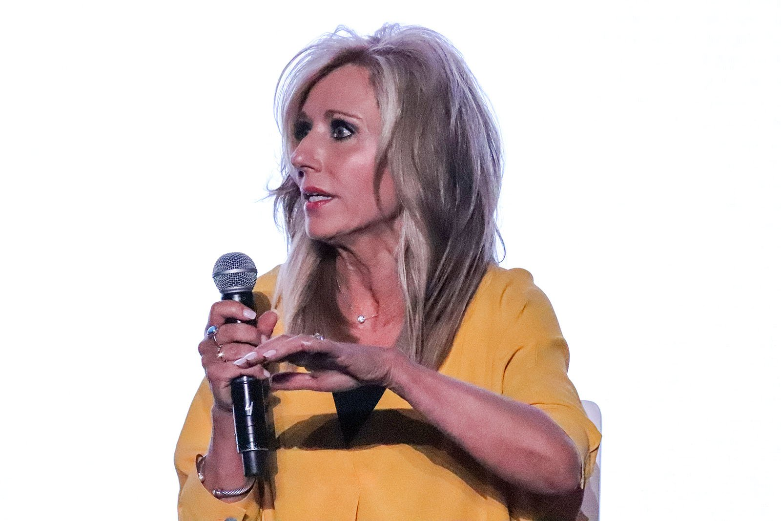 Author and speaker Beth Moore speaks during a panel on sexual abuse in the Southern Baptist Convention at the Birmingham-Jefferson Convention Complex in Birmingham, Alabama, on June 10, 2019. RNS photo by Adelle M. Banks