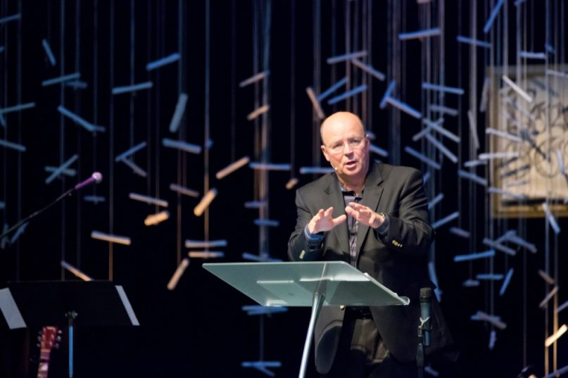 Scot McKnight, an evangelical scholar, author and blogger, at the pulpit. Courtesy photo