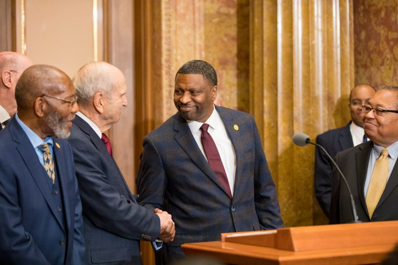 President Russell M. Nelson shakes hands with Derrick Johnson, president and CEO of the NAACP, May 18, 2018. © 2019 by Intellectual Reserve, Inc.