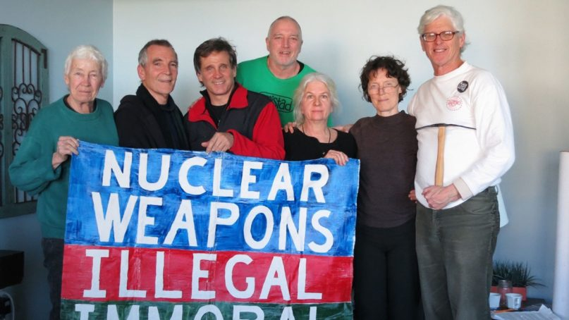 The Kings Bay Plowshares 7. From left to right: Elizabeth McAlister, Stephen Kelly, Carmen Trotta, Mark Colville, Martha Hennessy, Clare Grady and Patrick O'Neill. Photo courtesy of the Kings Bay Plowshares 7