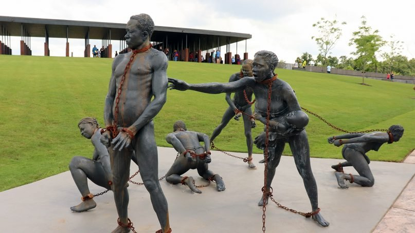 An installation art sculpture of slaves by artist Kwame Akoto-Bamfo at the National Memorial for Peace and Justice in Montgomery, Ala. RNS photo by Adelle M. Banks