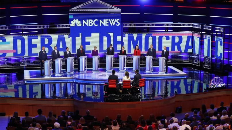 Democratic presidential candidates participate during the Democratic primary debate hosted by NBC News at the Adrienne Arsht Center for the Performing Arts on June 26, 2019, in Miami. (AP Photo/Wilfredo Lee)