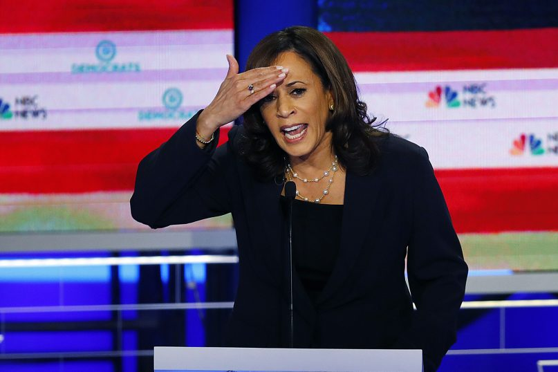 Democratic presidential candidate Sen. Kamala Harris, D-Calif., gestures during the Democratic primary debate hosted by NBC News at the Adrienne Arsht Center for the Performing Arts on June 27, 2019, in Miami. (AP Photo/Wilfredo Lee)